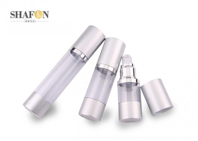 Silver Color Cosmetic Lotion Bottles , Electrified Aluminum Cosmetic Pump Bottle