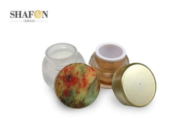 Bamboo Cover Acrylic Jars For Cosmetics Inner Painting 30g 35mm Diameter