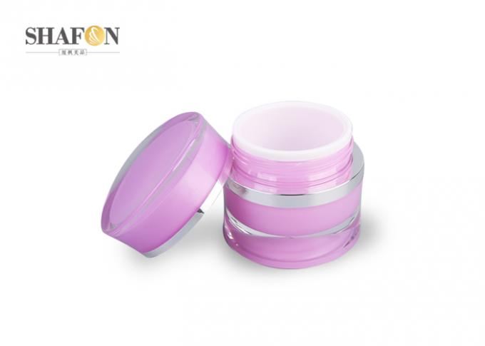 Double Wall Acrylic Cream Jar Plating Closure 15g / 50g Customized Color