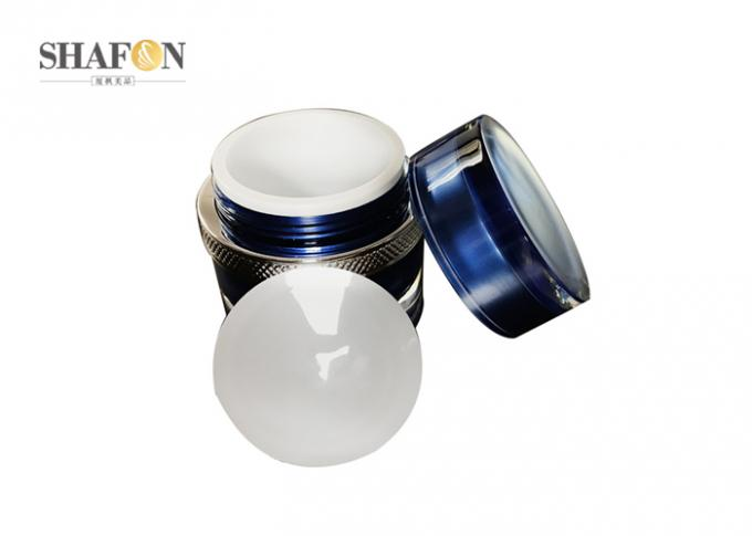 Skin Care Clear Cream Cosmetic Jar Blue / White Color Korean Style Round Design