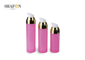 Pink Customized Airless Lotion Bottle , Plated Plastic Lotion Pump Bottles