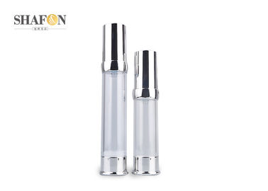 AS Inner Painting Airless Lotion Bottle , Plated Cover Empty Lotion Bottles