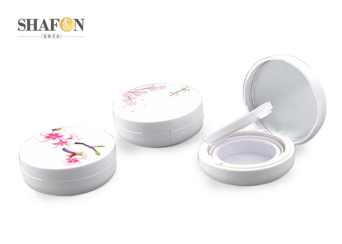 Flower Painting Women Air Cushion Compact White ABS With Mirror Standard Package