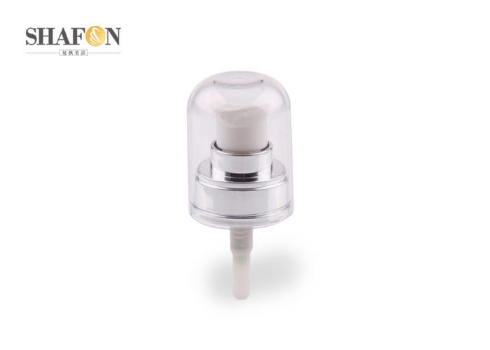 20 / 400 White Plastic Cosmetic Treatment Pumps Plating Surface With Full Cover