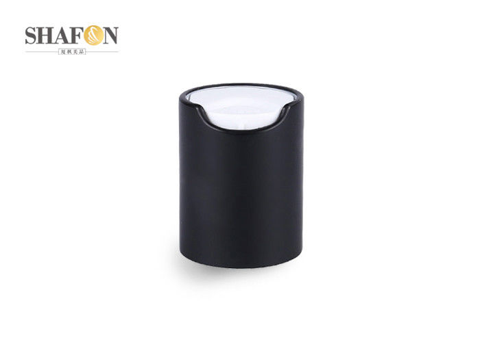 Black Disc Top Cosmetic Bottle Caps 20 / 410 Electrified Aluminum Customized Design