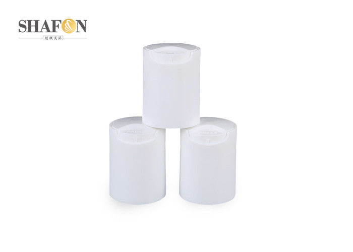 White Plastic Cosmetic Bottle Caps  20 / 415 Non Spill For Cosmetic OEM
