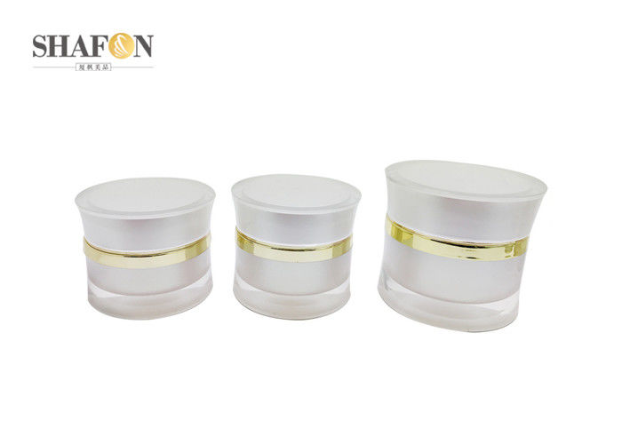 White Round Shape Cream Cosmetic Jar Acrylic Material With Injection Process