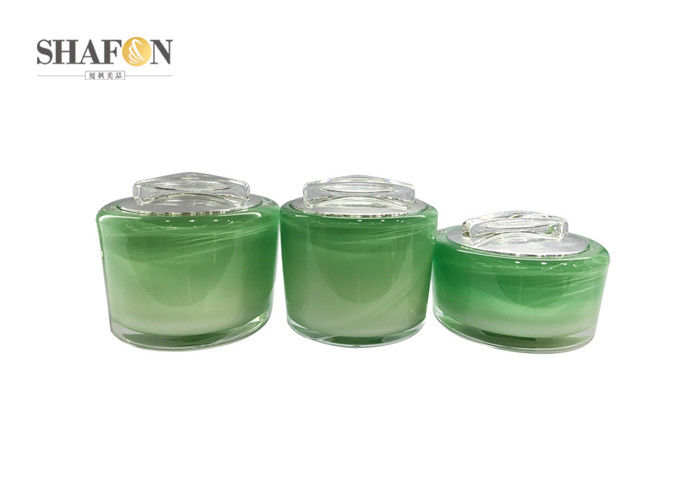 Green Refillable Cream Cosmetic Jar Various Size Cylinder Shape For Facial Cream